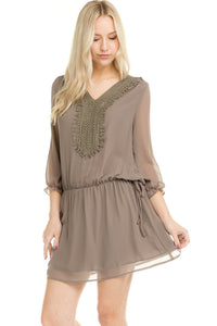 Three Quarter Sleeve Crochet Tie Dress - Comes In 3 Colors