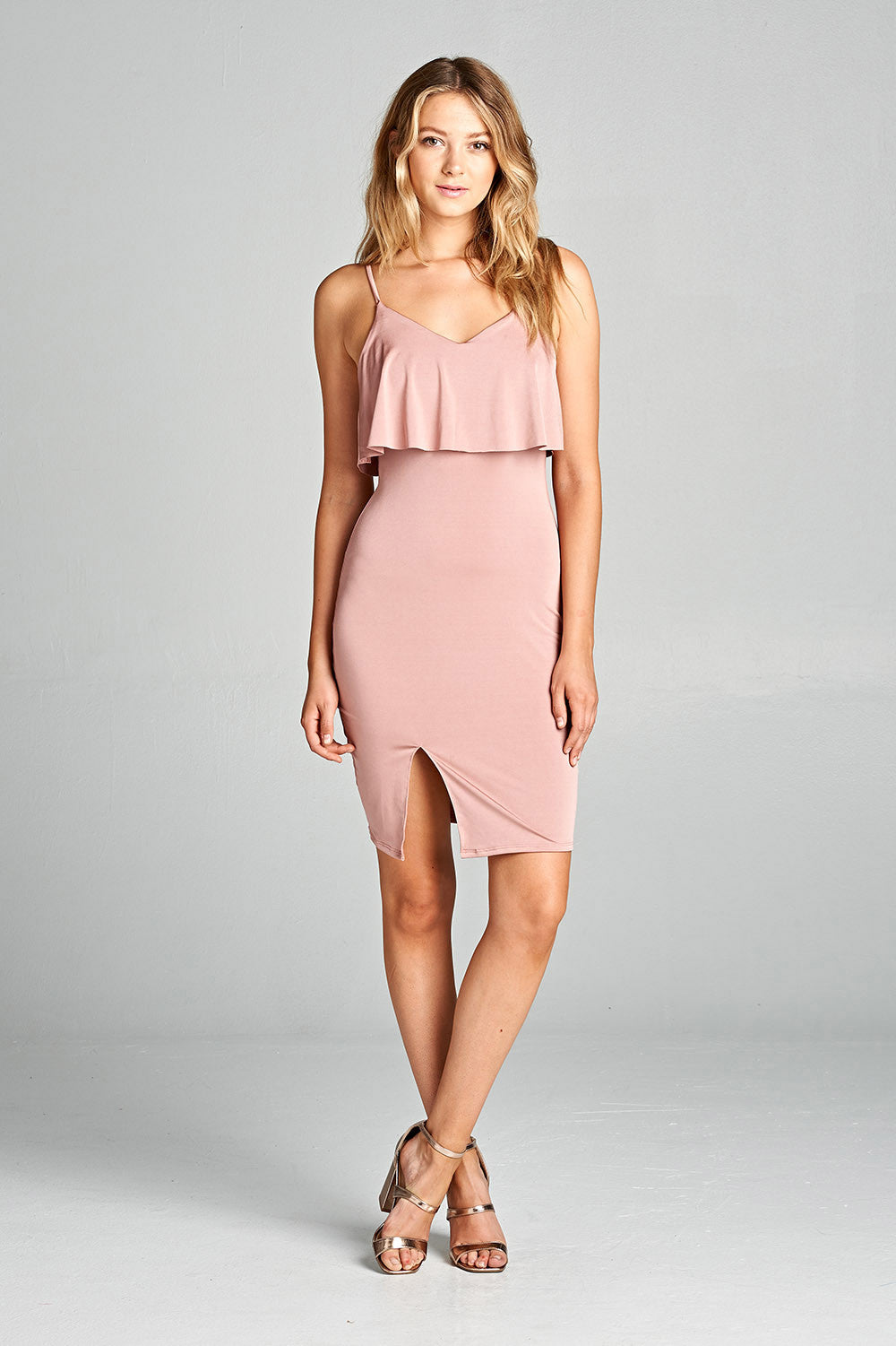 Sleeveless Ruffle Front Slit Bodycon Dress - Comes In 2 Colors