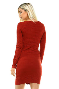 Long Sleeve Textured Sweater Dress - Comes In 2 Colors