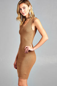 Sleeveless V-Neck Choker Sweater Dress - Comes In 3 Colors