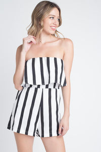 Strapless Black And White Stripe Pocket Romper