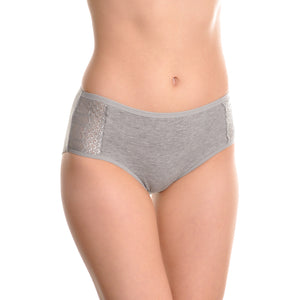 Fair Felicity - 6 Pack Multi Pack Plus Size Panties With Lace Accent - Grey - Front