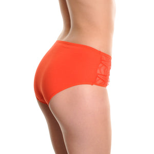 Fair Felicity - 6 Pack Multi Pack Plus Size Panties With Lace Accent - Orange - Back