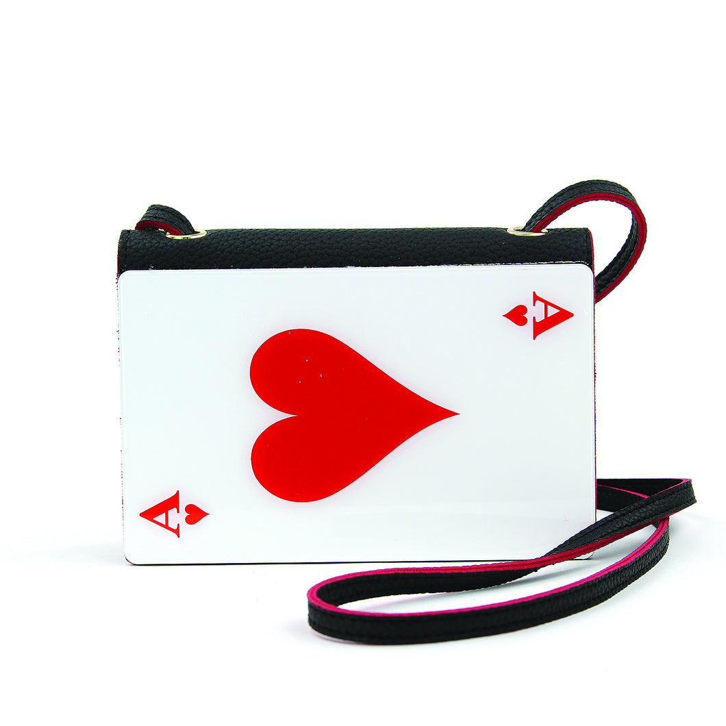 Ace of Hearts Acrylic Plate with Vinyl Crossbody bag
