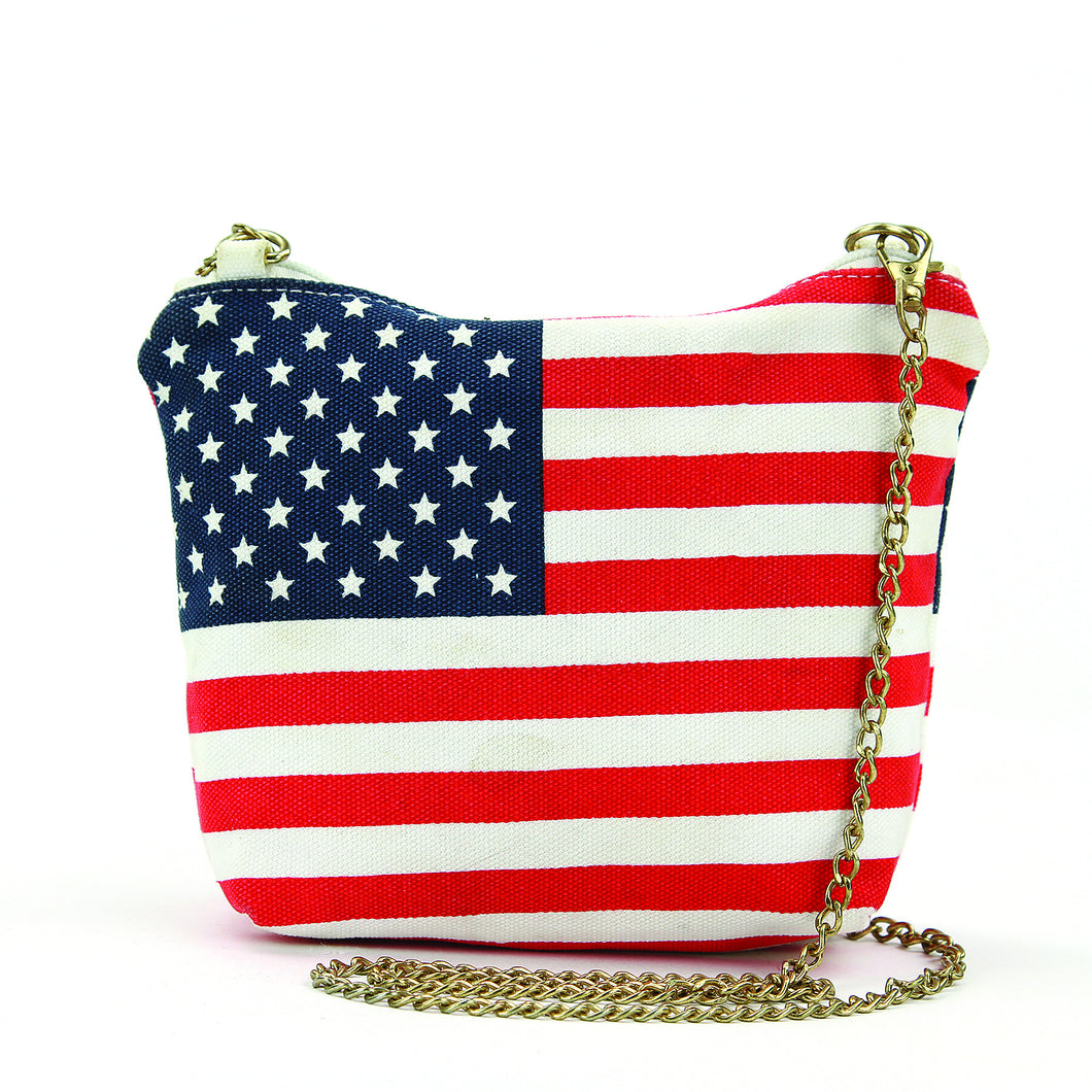 American Flag Crossbody Bag in Canvas with Chain Strap