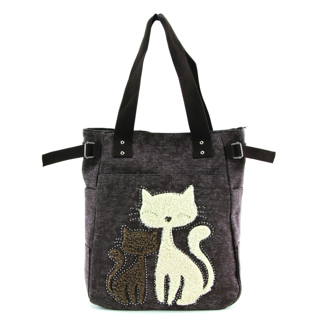 Lovely Cats With Faux Fur And Studs Canvas Tote Bag