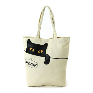 Peeking Black Cat Meow Canvas Tote Bag
