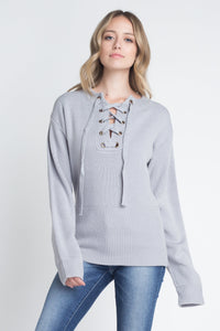 Criss Cross Lace Up Pullover Comes In 2 Colors