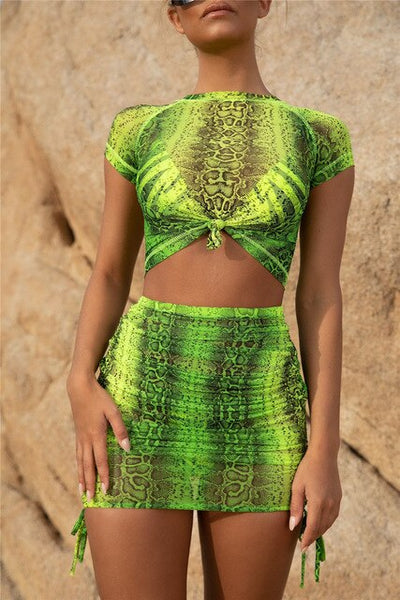 Neon Snakeskin Two Piece