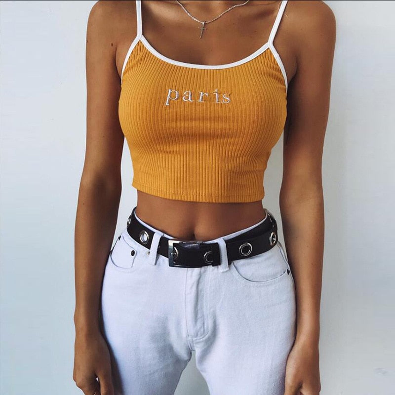 Honey/paris crop top