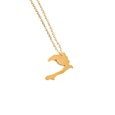 Haiti Map Necklace_Gold