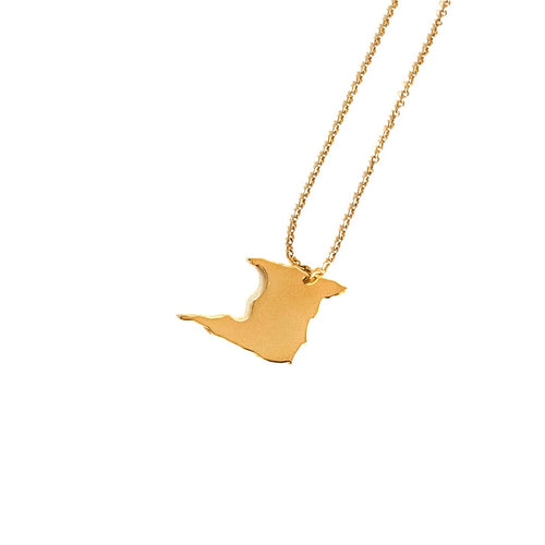 Trinidad Map Necklace_Gold