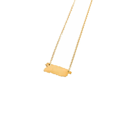 Puerto Rico Map Necklace_Gold