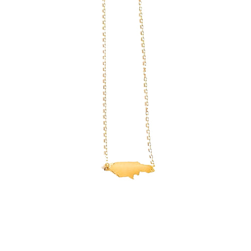 Jamaica Map Necklace_Gold