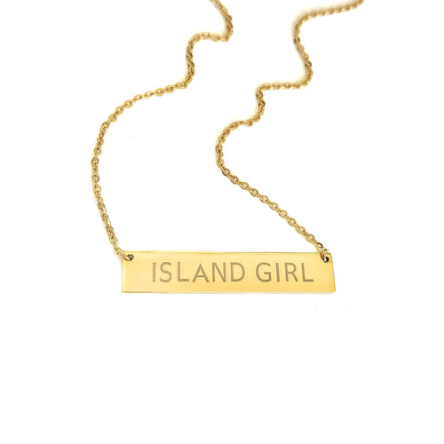 Original Island Girl Necklace_Gold Wide Bar
