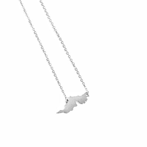Tortola Map Necklace_Silver
