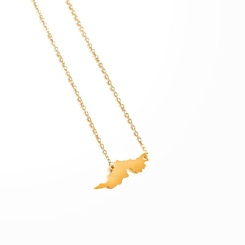 Tortola Map Necklace_Gold