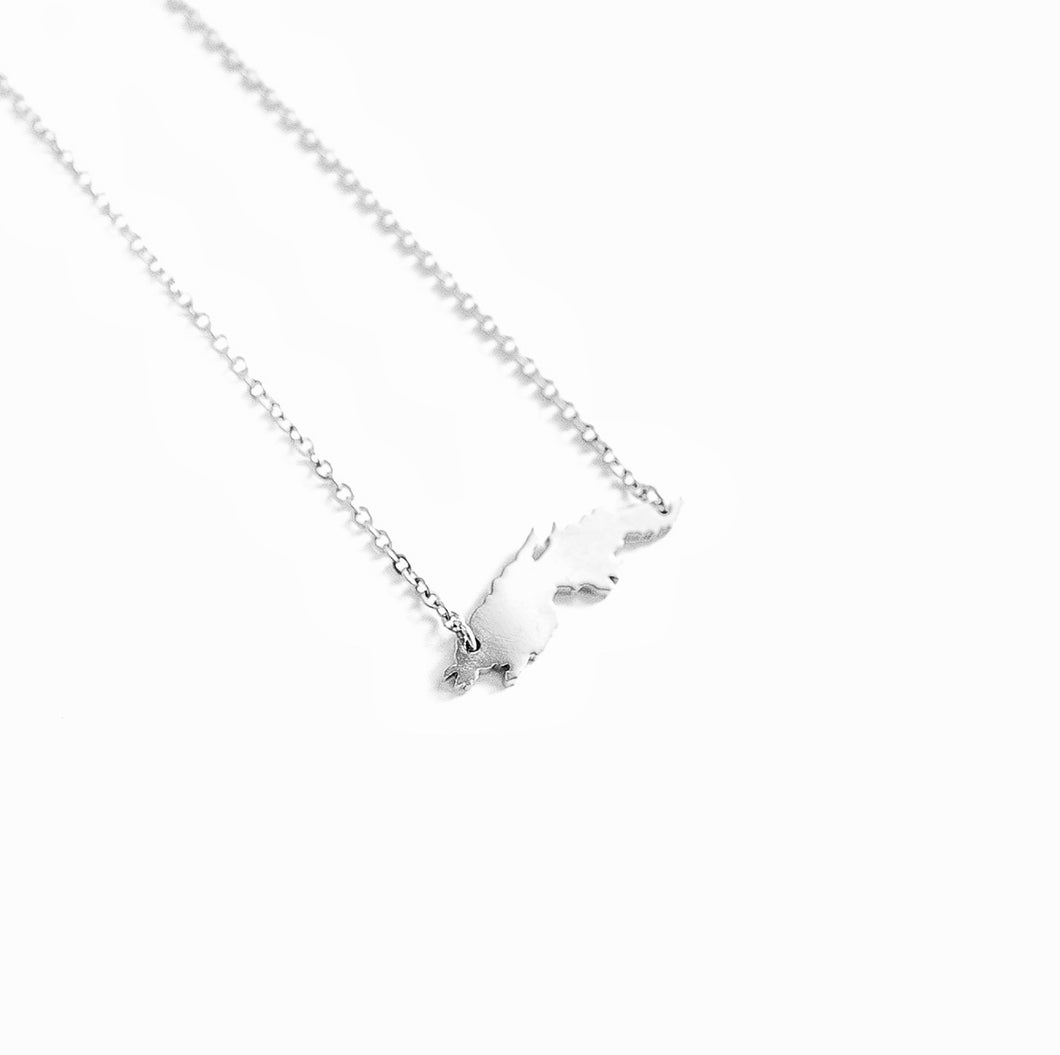 St. Thomas Map Necklace_Silver