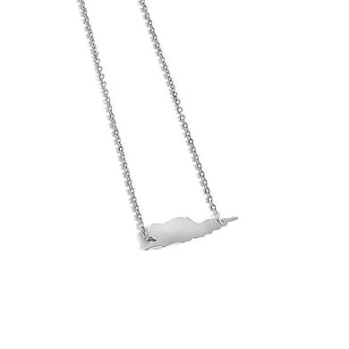 St. Croix Map Necklace_Silver