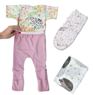 Caboosee Sleep Bundle- Sleepy Time Wrap with Pink