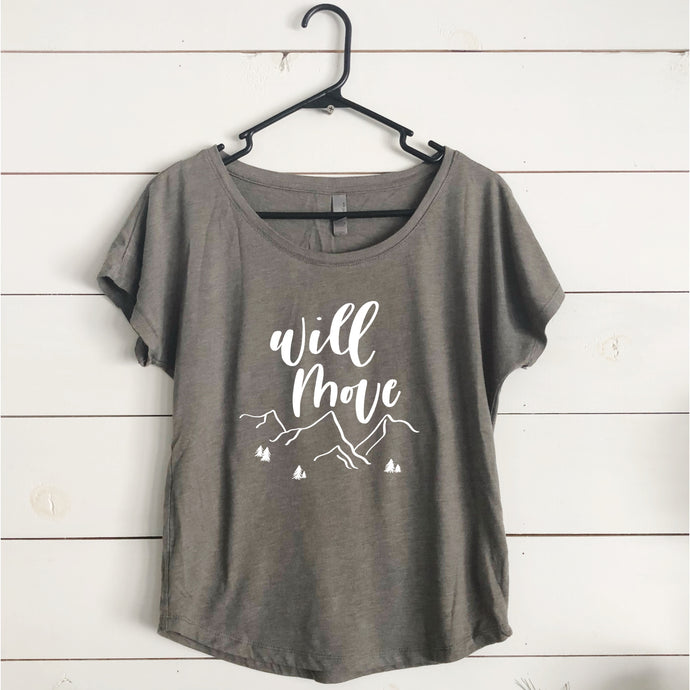 Womens' Move Mountains T-Shirt- Venetian Grey- PreOrder Sale