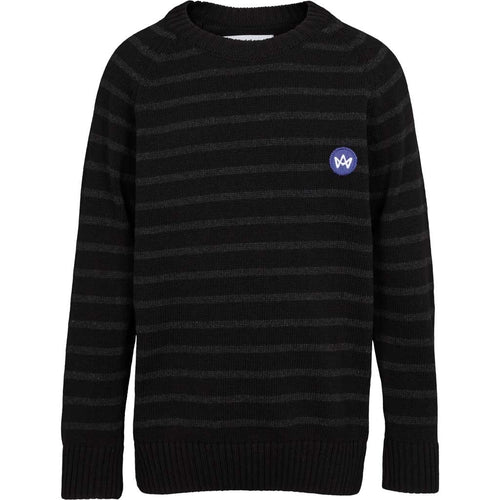 Kronstadt Kids Liam Crew Striped Recycled Knits Black/Charcoal