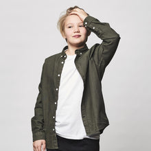 Load image into Gallery viewer, Kronstadt Kids Johan Oxford Washed Shirts L/S Army