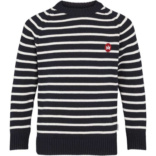 Kronstadt Kids Liam Crew Striped Recycled Knits Navy/White