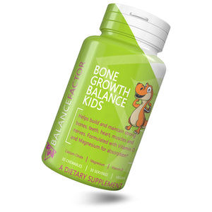 Bone Growth Balance Kids | Kids Calcium | bottle image front view tilted right