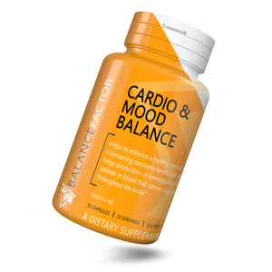 Cardio and Mood Balance | Vitamin B6 | bottle image front view tilted right