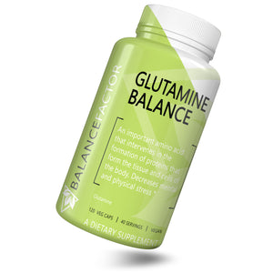 Glutamine Balance | Glutamine | bottle image front view tilted right