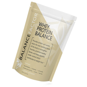 Whey Protein Balance Vanilla Bean bottle image front view tilted right