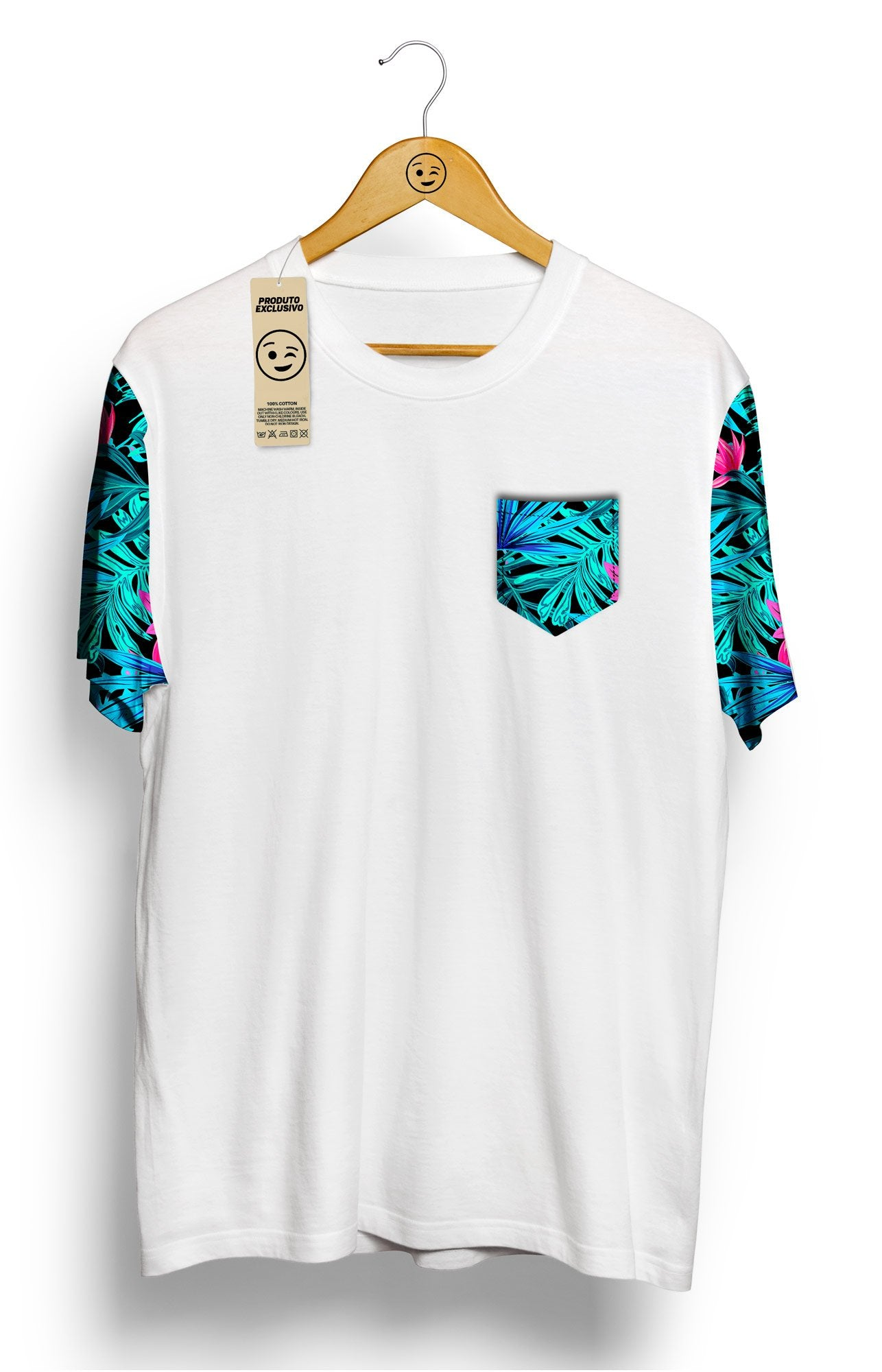 Camiseta Tropical com Bolso