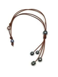 Tahitian Pearls on leather