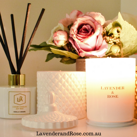 Lavender and Rose Australian Scented Candles - Natural Warm Light