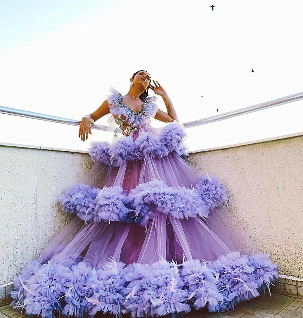 Purple Feathered Dreamy Dress