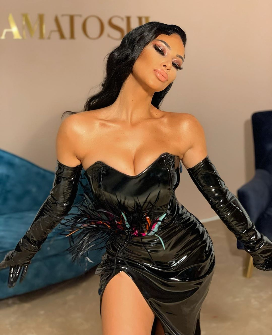 Black Latex & Feathers - Gloved Hands