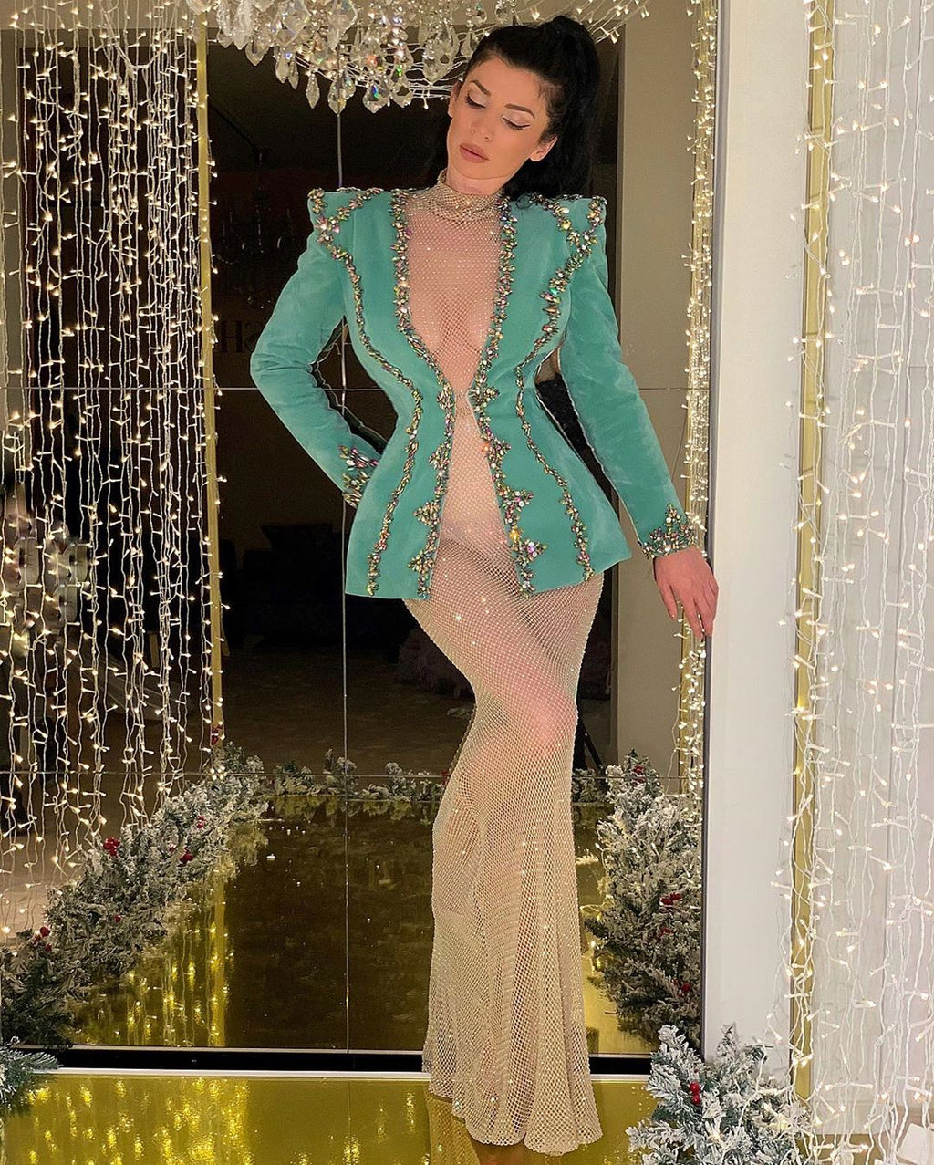 Glittery Gown with Turquoise Beaded Jacket