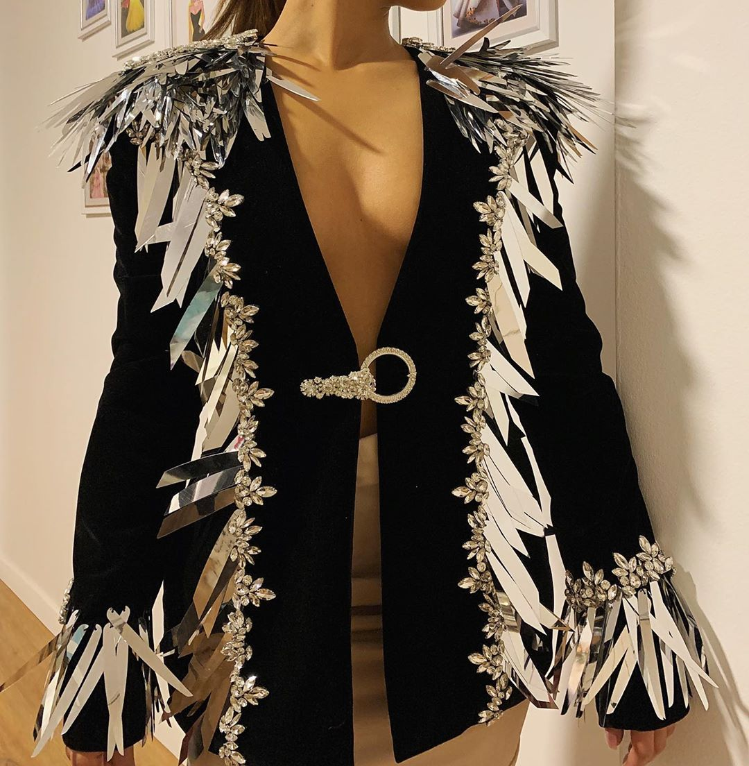 Black Jacket with Silver Details