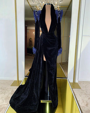Black Velvet & Royal Blue Details Gown