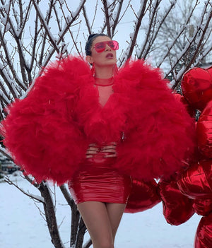 Red Heart Tulle & Latex Dress