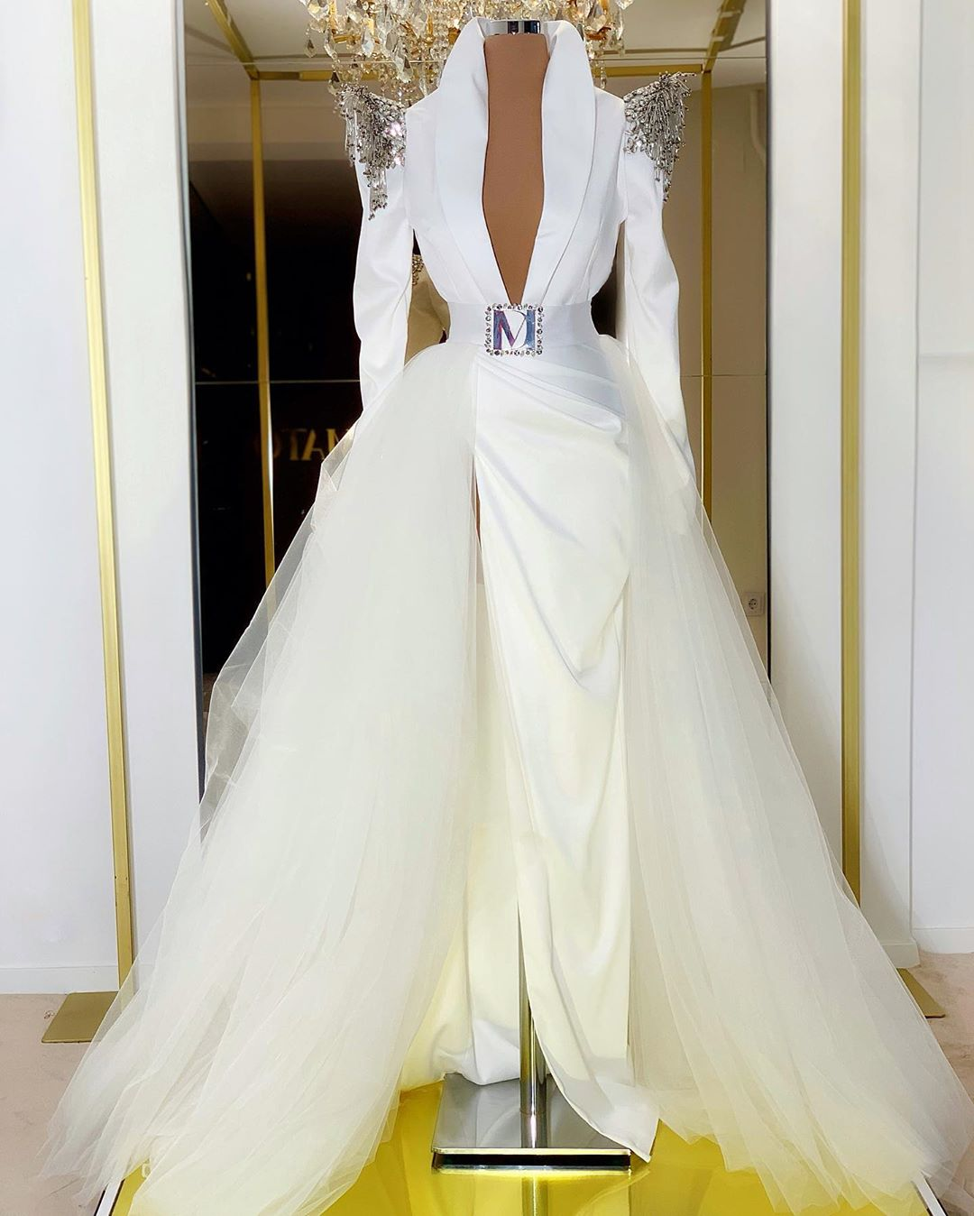 White DM Beaded Gown