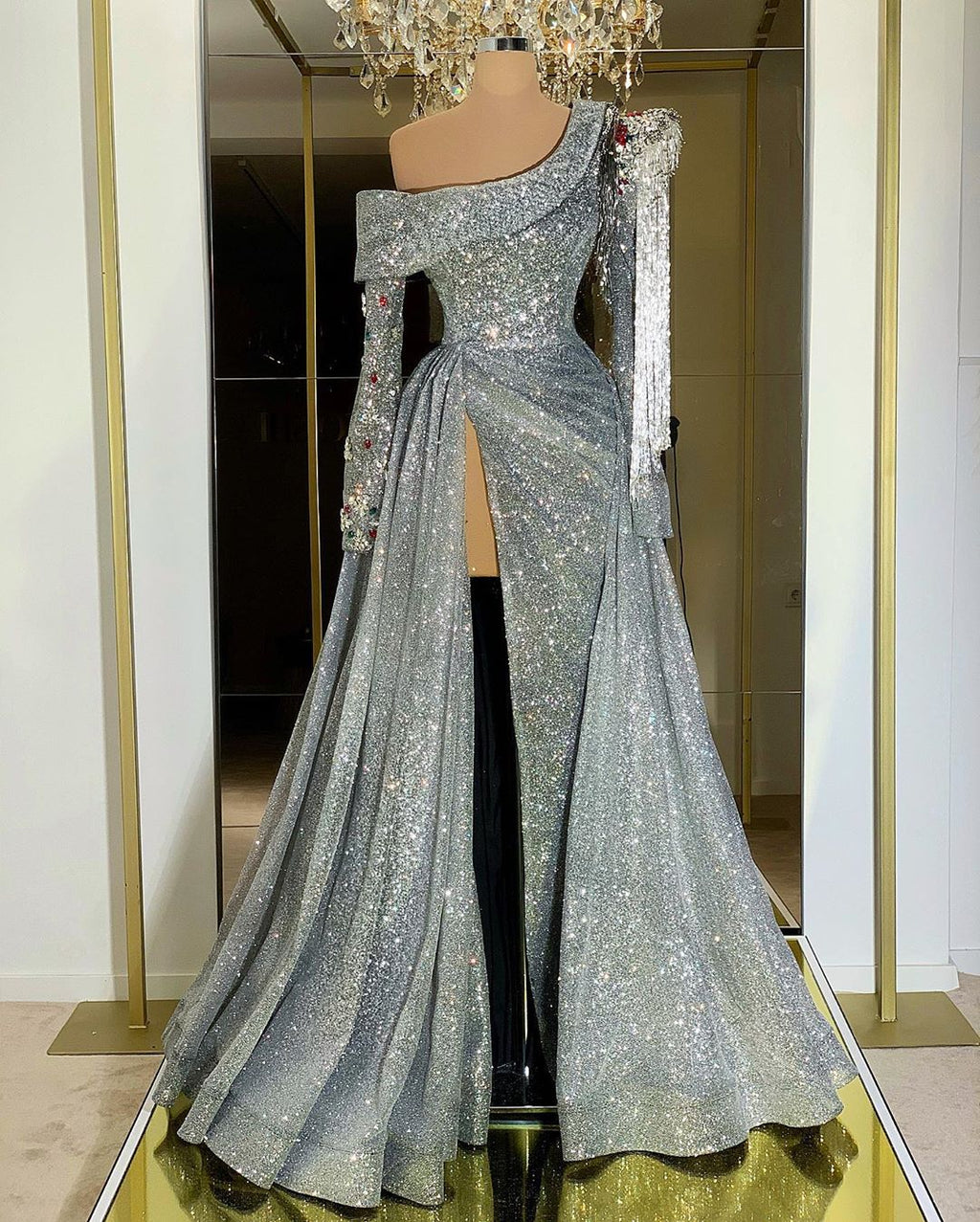 Beaded Sleeves Off Shoulder Sparkly Gown