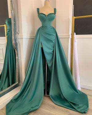Olive Satin Gown