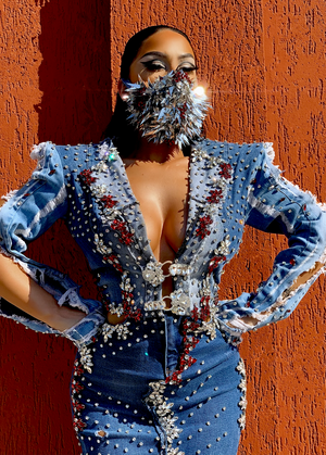 The Crystal Handmade Denim Dress & Mask