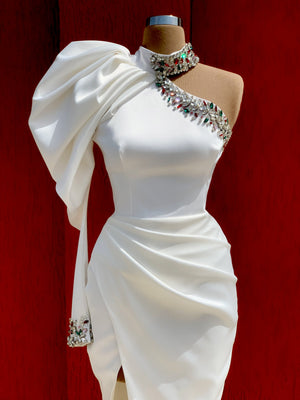 Shiny White Dress with Puffy Sleeve