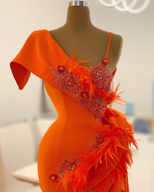 Orange Feather Lace Details
