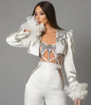 Jumpsuit & Jacket  Silver Crystals