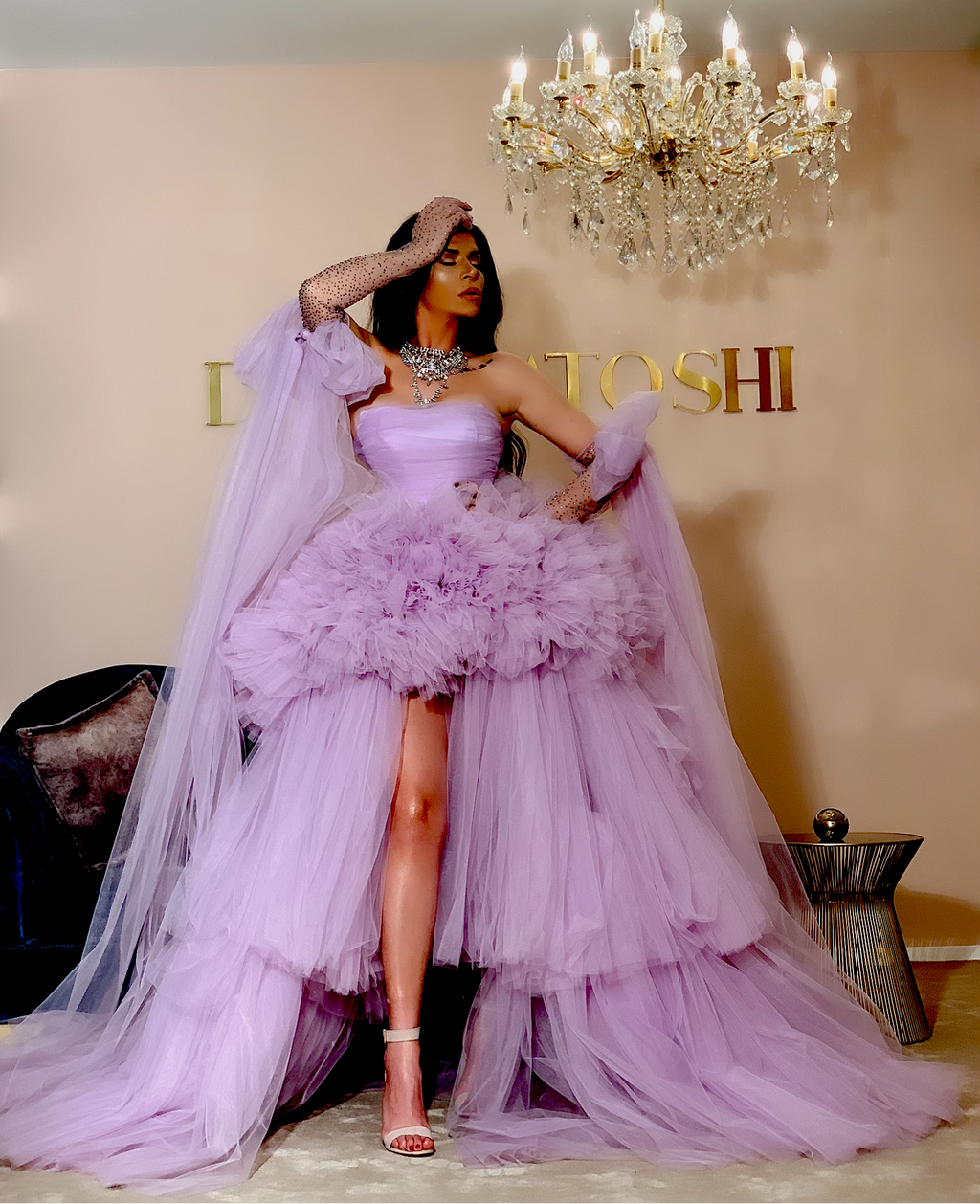Light Purple Tulle Gown with Crystal Gloves