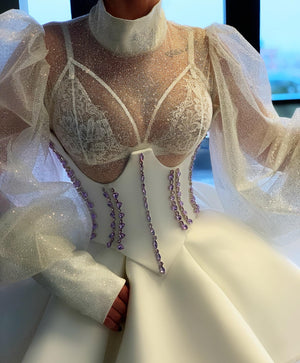 White Short Dress Corset Crystals